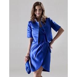 Short Mini Satin Bridesmaid Dress Royal Blue Plus Sizes Petite Sheath Column V Neck