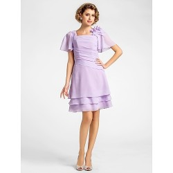 A Line Plus Sizes Petite Mother Of The Bride Dress Lilac Knee Length Short Sleeve Chiffon
