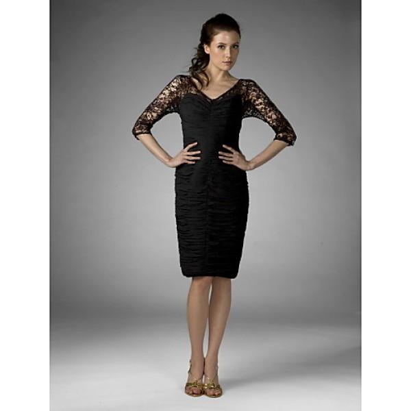 Sheath/Column Plus Sizes / Petite Mother of the Bride Dress - Black Knee-length Half Sleeve Chiffon / Lace Mother Of The Bride Dresses