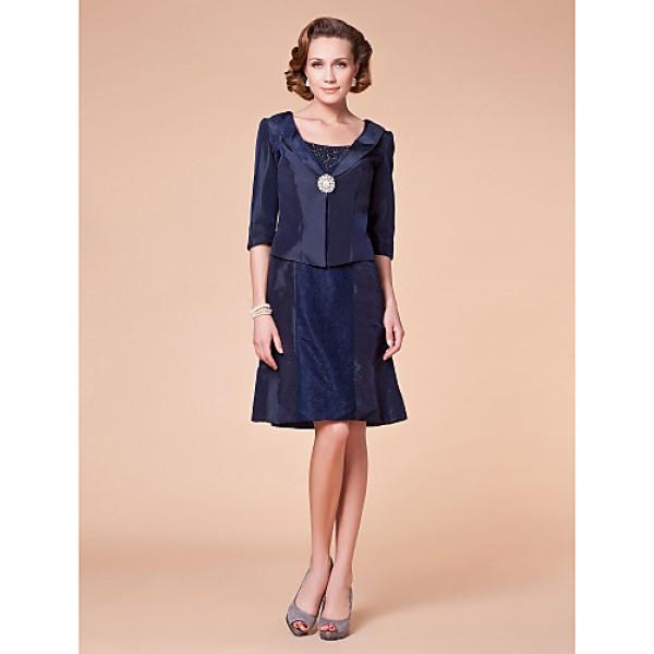 A-line Plus Sizes / Petite Mother of the Bride Dress - Dark Navy Knee-length Half Sleeve Taffeta Mother Of The Bride Dresses