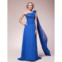 A Line Plus Sizes Petite Mother Of The Bride Dress Royal Blue Sweep Brush Train Watteau Train Sleeveless Chiffon