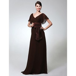 Formal Evening Military Ball Dress Chocolate Plus Sizes Petite Sheath Column V Neck Floor Length Chiffon
