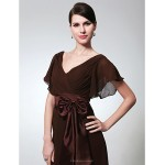TS Couture Formal Evening / Military Ball Dress - Chocolate Plus Sizes / Petite Sheath/Column V-neck Floor-length Chiffon Mother Of The Bride Dresses