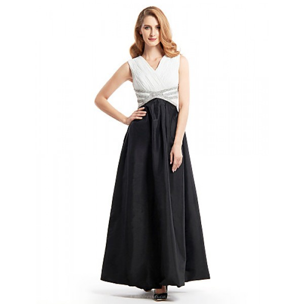 A-line Mother of the Bride Dress - Black Ankle-length Sleeveless Chiffon / Taffeta Mother Of The Bride Dresses
