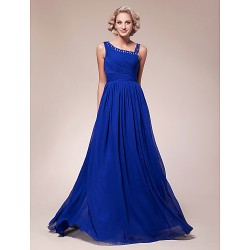 A-line Plus Sizes / Petite Mother of the Bride Dress - Royal Blue Floor-length Sleeveless Chiffon