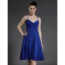 Cocktail Party Dress - Royal Blue Plus Sizes / Petite A-line / Princess V-neck / Spaghetti Straps Knee-length Chiffon