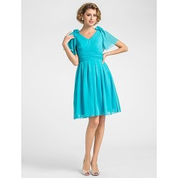 A-line Plus Sizes / Petite Mother of the Bride Dress - Pool Knee-length Short Sleeve Chiffon