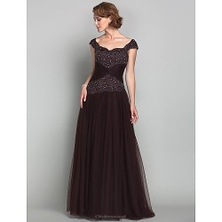 A Line Plus Sizes Petite Mother Of The Bride Dress Chocolate Floor Length Sleeveless Tulle