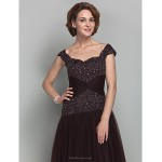 A-line Plus Sizes / Petite Mother of the Bride Dress - Chocolate Floor-length Sleeveless Tulle Mother Of The Bride Dresses