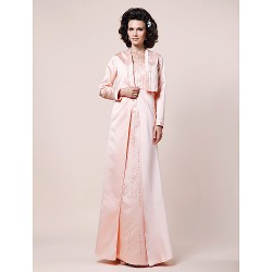 A-line Plus Sizes / Petite Mother of the Bride Dress - Pearl Pink Floor-length Long Sleeve Satin