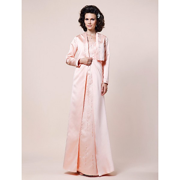A-line Plus Sizes / Petite Mother of the Bride Dress - Pearl Pink Floor-length Long Sleeve Satin Mother Of The Bride Dresses