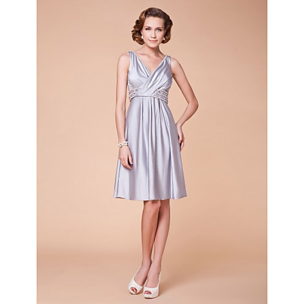 A-line Plus Sizes / Petite Mother of the Bride Dress - Silver Knee-length Sleeveless Spandex Mother Of The Bride Dresses