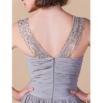 A-line Plus Sizes / Petite Mother of the Bride Dress - Silver Floor-length Sleeveless Chiffon Mother Of The Bride Dresses