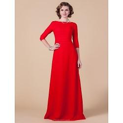 Sheath Column Plus Sizes Petite Mother Of The Bride Dress Ruby Floor Length 3 4 Length Sleeve Chiffon