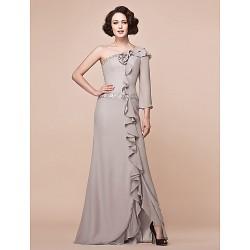 Sheath Column Plus Sizes Petite Mother Of The Bride Dress Silver Floor Length 3 4 Length Sleeve Chiffon