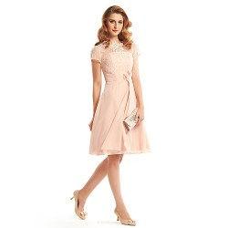 A Line Mother Of The Bride Dress Pearl Pink Knee Length Short Sleeve Chiffon