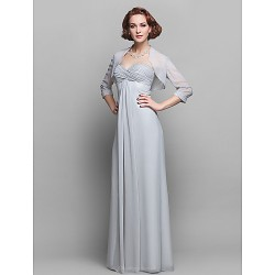 Sheath Column Plus Sizes Petite Mother Of The Bride Dress Silver Floor Length 3 4 Length Sleeve Chiffon