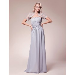Sheath/Column Plus Sizes / Petite Mother of the Bride Dress - Silver Floor-length Short Sleeve Chiffon / Lace