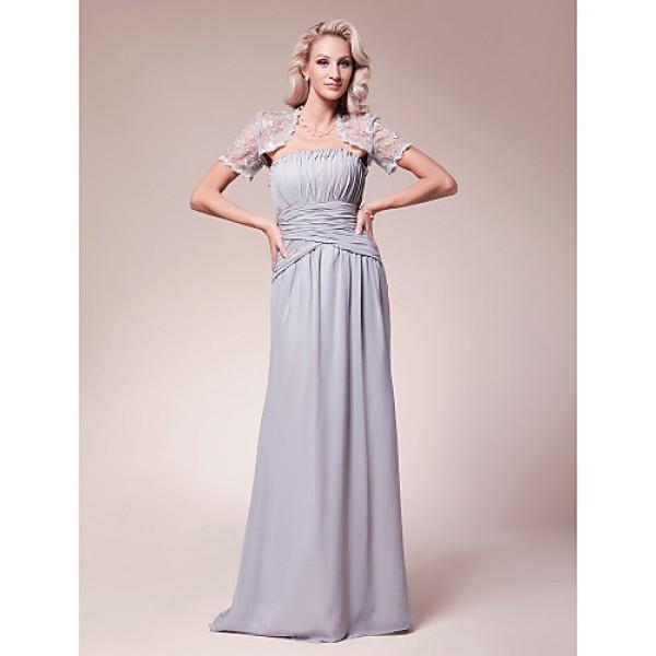 Sheath/Column Plus Sizes / Petite Mother of the Bride Dress - Silver Floor-length Short Sleeve Chiffon / Lace Mother Of The Bride Dresses