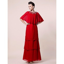 A-line Plus Sizes / Petite Mother of the Bride Dress - Ruby Floor-length Half Sleeve Chiffon