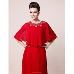 A-line Plus Sizes / Petite Mother of the Bride Dress - Ruby Floor-length Half Sleeve Chiffon Mother Of The Bride Dresses