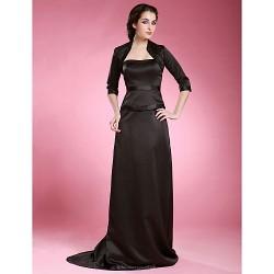 Sheath/Column Plus Sizes / Petite Mother of the Bride Dress - Black Sweep/Brush Train 3/4 Length Sleeve Satin