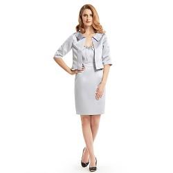 Sheath/Column Mother of the Bride Dress - Silver Knee-length Half Sleeve Satin