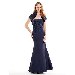 Trumpet/Mermaid Mother of the Bride Dress - Dark Navy Ankle-length Short Sleeve Taffeta