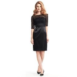 Sheath/Column Mother of the Bride Dress - Black Knee-length Half Sleeve Lace / Charmeuse
