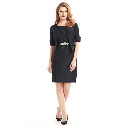 Sheath/Column Mother of the Bride Dress - Black Knee-length Half Sleeve Taffeta