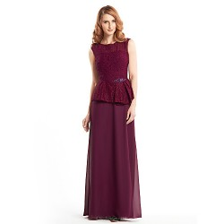Sheath/Column Mother of the Bride Dress - Grape Ankle-length Sleeveless Chiffon / Lace