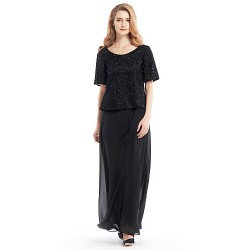 Sheath/Column Mother of the Bride Dress - Black Ankle-length Half Sleeve Chiffon / Lace