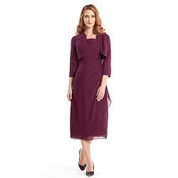 Sheath/Column Mother of the Bride Dress - Grape Tea-length 3/4 Length Sleeve Chiffon
