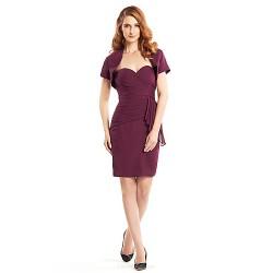 Sheath/Column Mother of the Bride Dress - Grape Knee-length Short Sleeve Chiffon