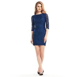 Sheath/Column Mother of the Bride Dress - Dark Navy Short/Mini Half Sleeve Lace