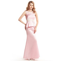 Trumpet Mermaid Mother Of The Bride Dress Blushing Pink Ankle Length Sleeveless Satin