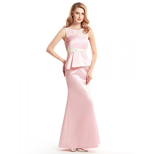 Trumpet/Mermaid Mother of the Bride Dress - Blushing Pink Ankle-length Sleeveless Satin Mother Of The Bride Dresses