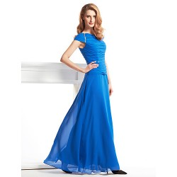 Sheath Column Mother Of The Bride Dress Royal Blue Ankle Length Short Sleeve Chiffon