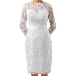 Sheath Column Mother Of The Bride Dress White Knee Length Lace Charmeuse