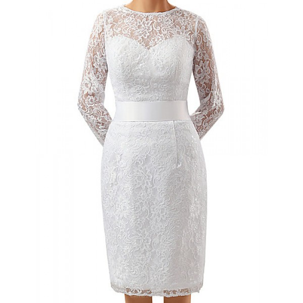 Sheath/Column Mother of the Bride Dress - White Knee-length Lace / Charmeuse Mother Of The Bride Dresses