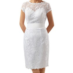Sheath/Column Mother of the Bride Dress - White Knee-length Lace