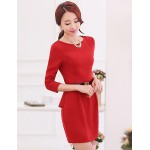 A-line Mother of the Bride Dress - Burgundy Short/Mini Spandex / Rayon Mother Of The Bride Dresses