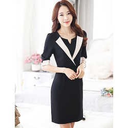 A-line Mother of the Bride Dress - Black Knee-length Spandex / Rayon