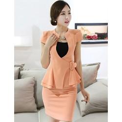 A-line Mother of the Bride Dress - Orange / White / Black Short/Mini Spandex / Rayon