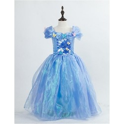 Flower Girl Dress Tea Length Satin Tulle A Line Short Sleeve Dress