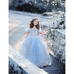 Flower Girl Dress Tea Length Satin Tulle A Line Short Sleeve Dress(Headpiece Not Include)