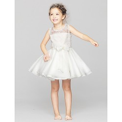 A-line Short/Mini Flower Girl Dress - Lace / Polyester Sleeveless