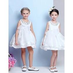 Ball Gown Tea Length Flower Girl Dress Cotton Tulle Sequined Polyester Sleeveless