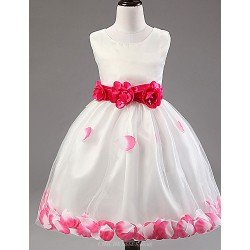 A Line Tea Length Flower Girl Dress Cotton Lace Tulle Polyester Sleeveless