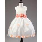 A-line Tea-length Flower Girl Dress - Cotton / Lace / Tulle / Polyester Sleeveless Flower Girl Dresses